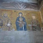 The intricacies of these mosaics were astounding. In the middle, Virgin Mary is holding Jesus, Emperor John II Komnenos is on her left, his wife the Empress Eirene on her right and their son Alexios is pictured above the buttress.