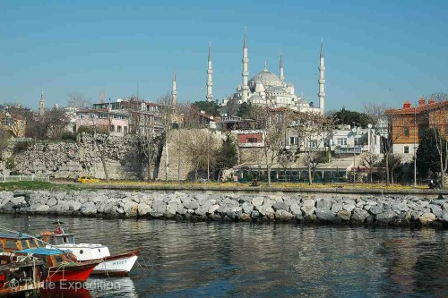 From our camping spot on the Bosporus we had a great view of the Blue Mosque.