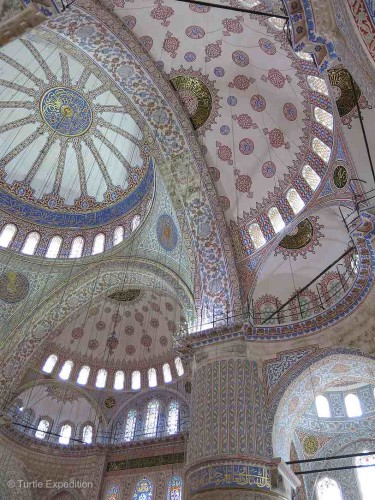 The colors and patterns of the various domes in the Blue Mosque were exquisite.