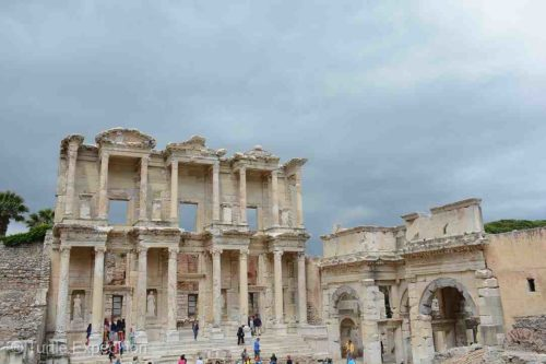 The famous Library of Celsus in Ephesus held 12,000 scrolls.