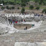 The Bouleuterion (sometimes called Odeon) housed the meetings of the council (boule), musical performances and contests. It was built around 100 AD.