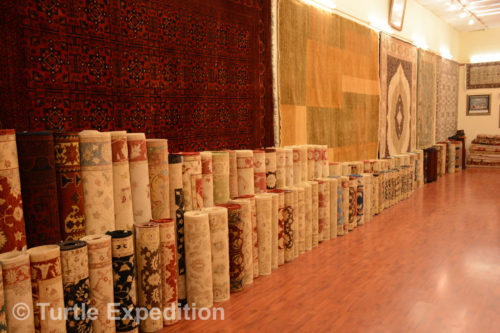 The Carpetium Carpet Manufacturing store had hundreds of carpets of all sizes and price ranges to choose from.