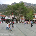The center of Kaş had a pretty plaza and clean streets leading up to homes and stores.