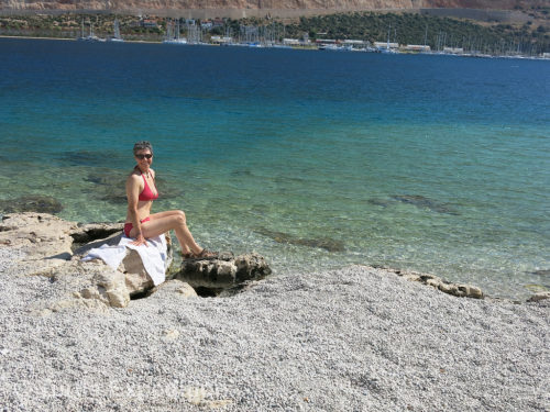 The pebble beach near Kaş was warmer than the water but we braved a dip anyway. It was still early in the season.
