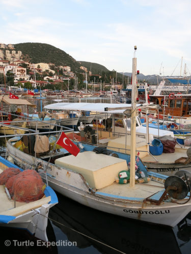 The small harbor of Kaş was full of yachts, fishing and cruise boats.