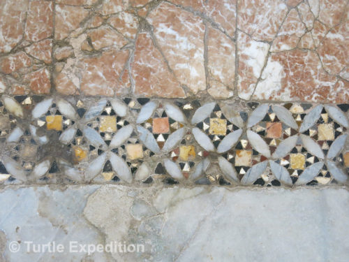 The beautiful opus sextile patterns on the pavements and interior walls of the church are examples of the skilled craftsmanship.