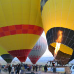 Lift off time for a hot air balloon ride is always exciting. Lots of heat, fire and noise from the big gas burners.
