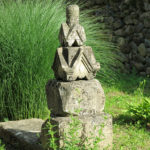 The open gardens of the Ubisi monastery were decorated with old stone carvings.
