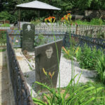 Today, people are remembered with these types of grave stone photographs. Some had a tent over the family plot and benches to contemplate or celebrate life. Why not?