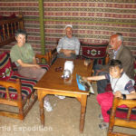 The caretakers of the Obruk Caravanserai graciously invited us to their tent for a cup of tea.