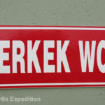 "A clear indication that we were now in Asia. Sit-down toilets were no longer the norm. ERKERK WC means ""Men's Toilet"" but since Monika doesn't understand Turkish?"