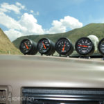 Keeping an eye on our Auto Meter mechanical gauges, (www.autometer.com), we climbed a long series of steep switchbacks out of a deep canyon into the Qurama Mountains and over the Kamchik Pass, 7,441 ft., (2267 m).