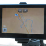 Our Garmin GPS gave us a birds-eye view of the road over Kamchik Pass.