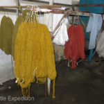The hanks of dyed silk are hung to dry.