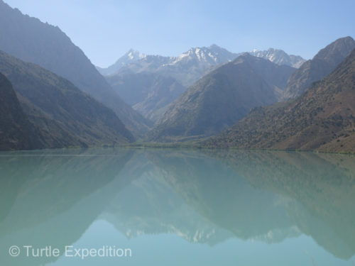 The beautiful Iskandar Lake gets its turquoise color from the glacial origin in the Gasser Range in the Fann Mountains.