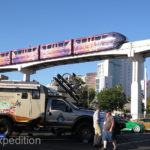 Early morning at SEMA is a quiet time. The colorful Las Vegas monorail zoomed overhead.