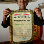 Sheroz proudly showed us the diploma of excellence he had received from his school in Dushanbe.