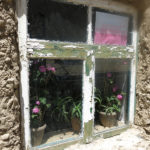 Flowers in the window showed a woman's touch to her home.