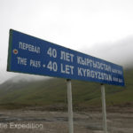 This Kyrgyzstan sign announcing the elevation of 3,550 meters, (11,646 feet), reminding us that the average elevation of this country is 2,750 meters, (9,022 feet).
