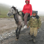 It was snowing so Monika didn't get too far on this gentleman's horse. (July 30!)