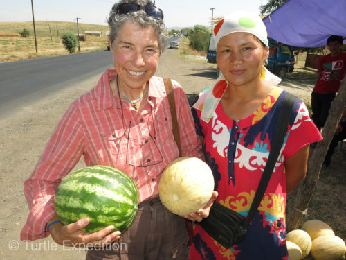 This friendly melon vendor was happy to pose for a picture.