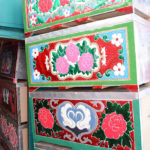 The Kyrgyz are well known for their beautiful boxes. These are typically used for storage and as furniture in yurts which are often moved with the seasons.