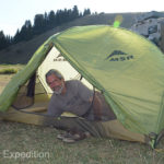 Gary is testing our Chinese guide's tent. Coincidentally, her chosen English name was Green.
