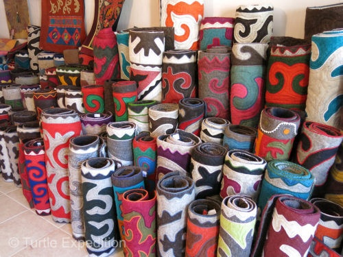 These beautiful felt carpets and hand-embroidered wall hangings are typically used in yurts but are also an attraction for tourists.