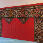 Hand embroidered wall hangings like these are often used in homes and yurts. They are made completely by hand.