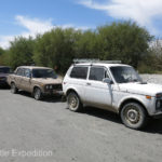 A row of old Lada Nivas date back to Russian occupation.