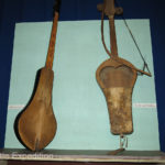 Old musical instruments on display.