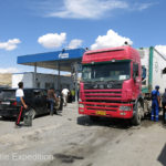 We were not the only ones who decided fill up before heading into China or north to Osh or Bishkek. Chinese overloaded dual-trailer semis will soon destroy the new road being built.