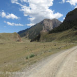 The turn-off for Tash Rabat was good gravel as it climbed to just over 11,500 feet into a high mountain valley.