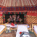 This guest yurt at Sabyrbek's Yurt Camp in Tash Rabat sleeps three.