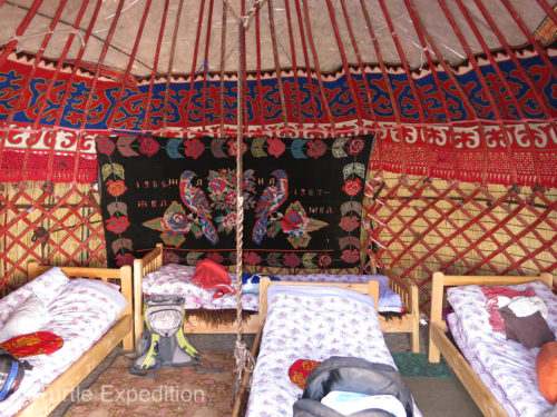 This cozy guest yurt at Sabyrbek Yurt Camp in Tash Rabat sleeps four.