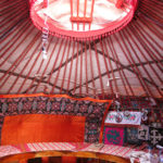 All yurts have an opening in the center to let smoke and heat out. It gets covered with felt during inclement weather.