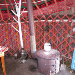 Each yurt has its own little stove to heat water for tea and keep the room warm.