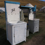 This was a deluxe homestay with outside wash basins for the guests.