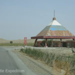 This abandoned gas station at the entranced to the Taklamakan Desert made a good shady place for lunch.