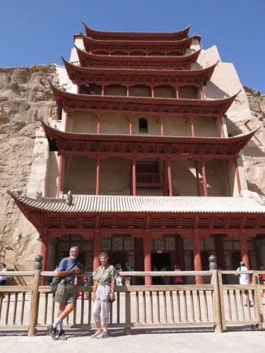 The main temple of the Mogao caves was beautifully restored and a great photo op.