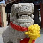 Statues of guardian lions traditionally stand in front of Imperial palaces, temples and other important buildings.