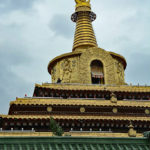 Green and Monika trekked up to the top of this golden pagoda.