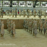 Like good warriors, they wait to be placed in their rank and file. Each man weighed 600 to 650 pounds and stood about 6 ft tall.