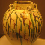 Tri-colored pot with four ear handles, Tang Dynasty