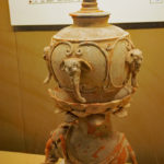 Painted stupa pot with elephant pedestal, Tang Dynasty