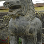 Lions standing guard at the foyer of the Shaanxi History Museum