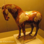 Tri-colored horse excavated from Princess Yongtai's tomb, Tang Dynasty