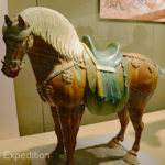 Tri-colored horse owned by a foreign leader, Tang Dynasty