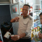 This vendor let us taste various vinegars.