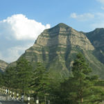 Heading out of town, we approached the pretty variegated Wuzhou Shan mountains.
